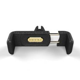 Kenu Airframe Plus Leather, černý přenosný držák do auta na větrací mřížku pro iPhone
