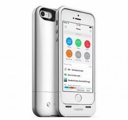 mophie Space Pack - bílé pouzdro s baterií a 16GB pamětí pro iPhone SE/5S/5